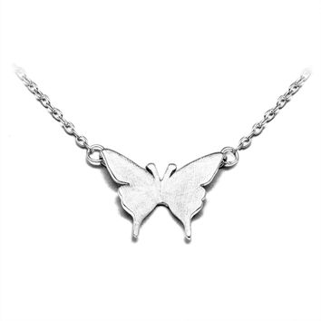 Fashionable Simple Elegant Butterfly 925 Sterling Silver Necklace