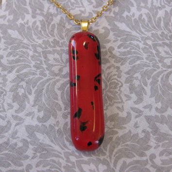 Red Necklace with Black Accents, Red Simple Necklace, Fused Glass Jewelry - Red Skies - 3300 -3