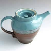 Teapot Coffee Pot Elegant 28 oz Hand Made Pottery Turquoise Iridescent Dark Chocolate - Ready to Ship