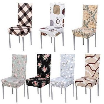 Removable Stretch Elastic Chair Cover Slipcovers Short Dining Room Stool Chair Seat Covers
