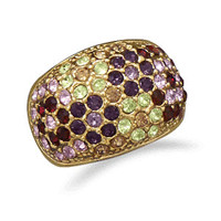 14 Karat Gold Plated Brass Ring with Multicolor Cubic Zirconias