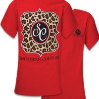 SALE Southern Couture Preppy Classic Leopard Logo T-Shirt