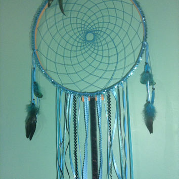 Large Dream Catcher Blue Mermaid Hippie Gypsi