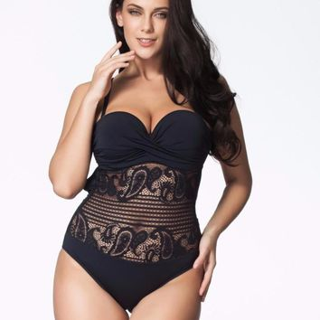 Sexy High Cut Swimsuit One Piece Swimwear Women Plus Size One Piece Black Lace Beach Bathing Suit Brazilian Monokini