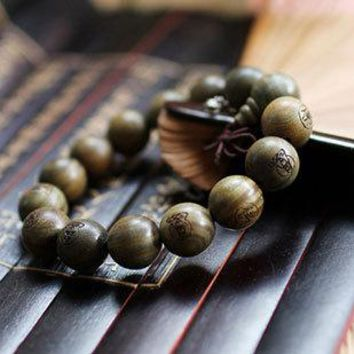 Green sandalwood 15mm Big Beads Carved Buddha Bracelet Men
