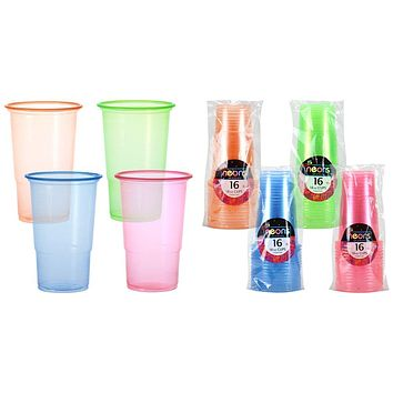 18 oz. Neon Plastic Cups 4 Sets Of Assorted Colors 16-Packs Neons - 24 sets
