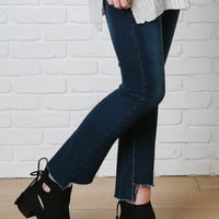 Dark Blue Wash Cutoff Flare Jeans