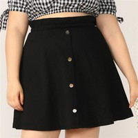 Plus Size Black Paperbag Waist Button Up Flare Skirt Women  Casual A Line Solid Big Size Above Knee Mini Skirt
