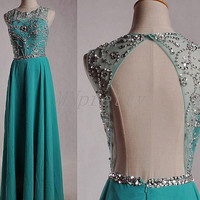 Long Ice Blue Stunning Beaded Crystal Prom Dresses,Backless Prom Dresses 2015,Chiffon Homecoming Dresses,Formal Party Grown
