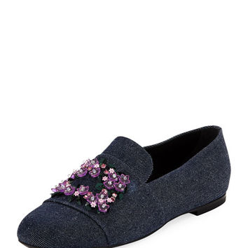 Roger Vivier Jeweled Denim Loafer