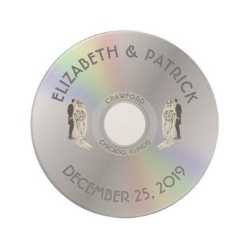 Vintage Compact Disk Wedding Elegant Personalized Coasters