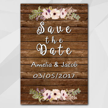 Save the Date Card, Watercolor Rustic wood Card, Custom Save the Date Card, diy wedding, etsy wedding XS022w