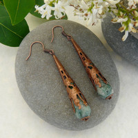 Gothic Copper Tone Jade Earrings Free Worldwide Shipping