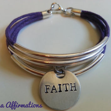 Silver Curved Tube Bead Bracelet for Women and Girls feat. Hand Stamped Positive Affirmation Charm (Made in USA)