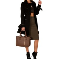 Sale-black Belted Trench Coat