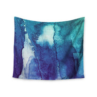 """Malia Shields """"Blues Abstract Series 1"""" Green Teal Wall Tapestry"""