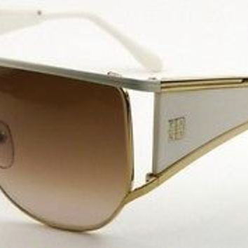 NEW AUTHENTIC GIVENCHY SGV362 COL 033M GOLD/WHITE RETRO SUNGLASSES FRAME SGV 362