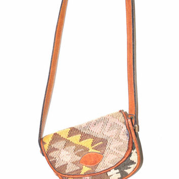 small KILIM purse 90s vintage tapestry bag 1990s leather trimmed SOUTHWESTERN navajo woven purse