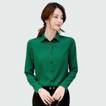 Women Blouse 2018 New Office Lady Spring Summer Long Sleeved Solid Shirt Plus Size Blouses Ol Style Shirts Blusas chemise femme
