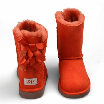 UGG:: bow leather boots boots in tubeb cute two bowknot Fresh Red