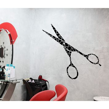 Vinyl Wall Decal Art Scissors Beauty Hair Salon Hairdresser Stickers (2961ig)