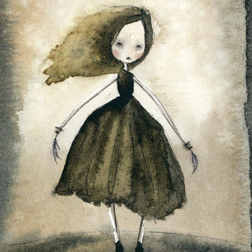 "Ballerina Gal (5""x7"" print of an original painting by Sophia Rapata)"