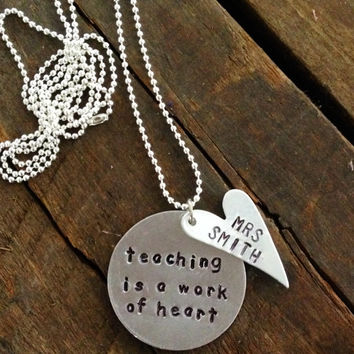 CUSTOM teacher necklace, w/personalized heart charm, gift, teacher appreciation, hand stamped, teacher's gift