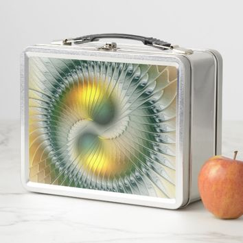 Yin Yang Green Yellow Abstract Colorful Fractal Metal Lunch Box