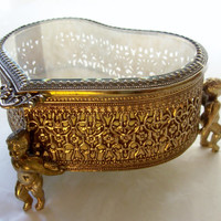 Vintage Jewelry Box Heart With Cherubs Gold Pierced Metal and Beveled Glass Trinket Vanity Casket Ornate Filigree