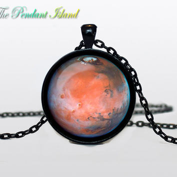 MARS Pendant  Mars planet necklace galaxy Universe Necklace  Solar System  Art Gifts for Her for men for him and hers