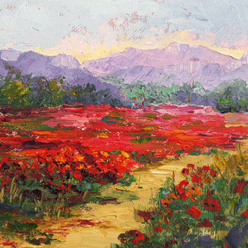 Provence Poppies Galore, Landscape Impressionist palette knife painting 6x8 inch