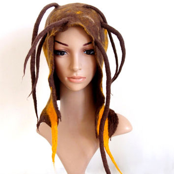 Felted Hat Freaky fantasy headgear with woolen dreads yellow brown spring burning man cosplay hat