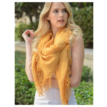 """Style and Flare"" Frayed Edge Mustard Oblong Scarf"