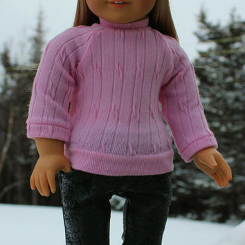 pink  sweater,  grey  flare leg leather look jeggings , grey beanie hat with bill, 18 inch doll clothes, American girl, Maplelea