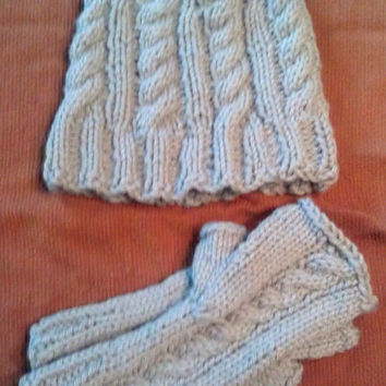 Cabled Knit Hat and Fingerless Gloves - Women, Teen