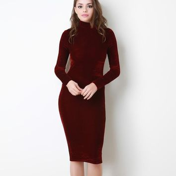 Autumn Winter Fashion Midi Pencil Dress Women Turtleneck Long Sleeve Sexy Velvet Dress Velvet High Neck Bodycon Dress