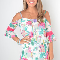 White Floral Print Dress with Cold Shoulder