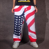 ANPOETCHY Autumn Winter Hip Hop Dance Sweatpants Men Casual Harem Pants Loose Joggers Europe and the United States Flag Trousers