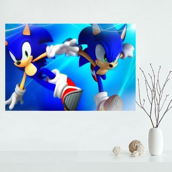 High Quality sonic the hedgehog Custom Canvas Poster Home Decoration poster cloth fabric Canvas Painting wall poster print