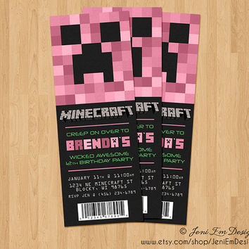 Creeper Invite, Minecraft Birthday Ticket Invitation, Printable, Girl, Pink