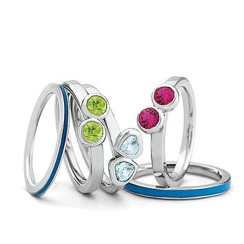 Sterling Silver, Enamel and Multi Gemstone Stackable Ring Set