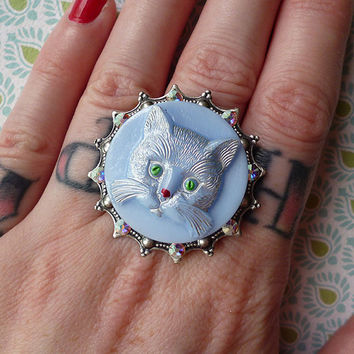 Adorable Light Blue Kitty Ring with Antique 100 year old Czech Glass Button, Silver Plated Filigree & AB Swarovski Crystals, Adjustable Band