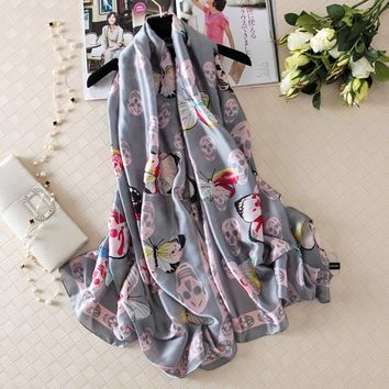 Skull Silk Fashion Women's Scarf Butterfly Style