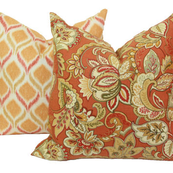 "Orange spice Jacobean floral decorative throw pillow cover. 18"" x 18"". 20"" x 20"".22"" x 22"". 24"" x 24"".26"" x 26"". lumbar sizes"