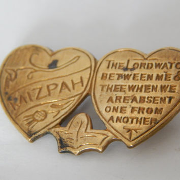 Antique Gold Vermeil Mizpah Brooch - Sweetheart Brooch - Antique Brooch - Antique Jewelry - Heart Brooch - Gifts for Women