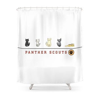 Society6 Five Cats All In A Row Panther Scouts Charac Shower Curtain