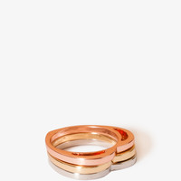 FOREVER 21 Cutout Heart Ring Set Gold/Silver 7