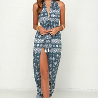 Faithfull the Brand Promenade Slate Blue Print Maxi Dress