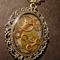 Steampunk Necklace- Gears and Watch Parts set in Resin in a Beautiful Ornate Victorian Setting/Antique Silver