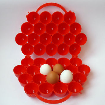 15% SALE Soviet vintage  egg Holder, basket, Retro decor Easter , Red plastic container, eco plastic , soviet kitchen crate, home decor. USS